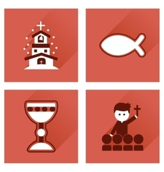 Concept of flat icons with long shadow vector