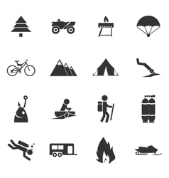 Active recreation icons vector