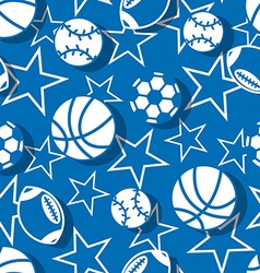 Sports balls in blue and white seamless pattern vector