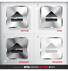 Set of four positions of metal eject button vector