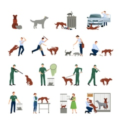 Stray animals icons set vector
