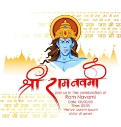 Lord rama in ram navami background vector