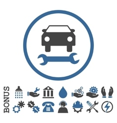 Car repair flat rounded icon with bonus vector