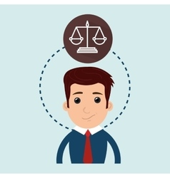 Man and justice isolated icon design vector