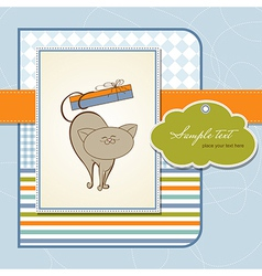birthday card with cute cat vector image vector image