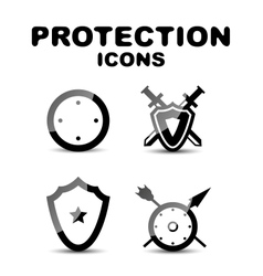 Black glossy protection icon set vector image vector image