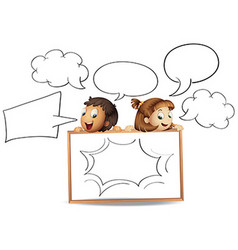 Boy and girl with speech bubble templates vector image vector image