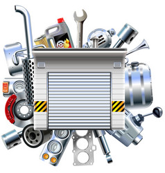 Car parts with garage vector