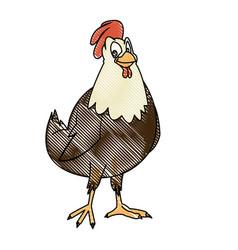 cartoon hen bird farm animal domestic image vector image vector image