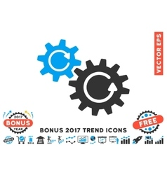 Cogs Rotation Flat Icon With 2017 Bonus Trend vector image vector image