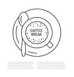 Cup of coffee flat line espresso vector