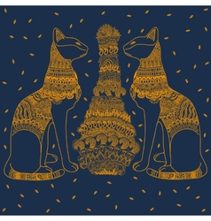 Egypt cat blue background vector