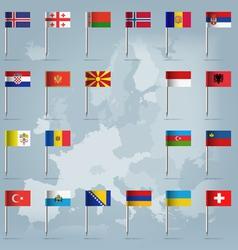 European countries flag pins vector