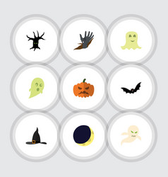 flat icon halloween set of zombie pumpkin witch vector image vector image