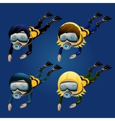 Four diver boys and girls on a blue background vector image