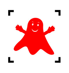 ghost isolated sign red icon inside black vector image