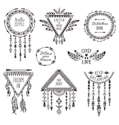Hand drawn boho style frames and decorations set vector