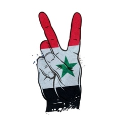 Hand gesture of victory flag syria vector