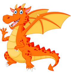 Happy dragon cartoon waving hand vector