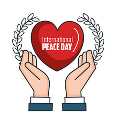 International peace day hands heart poster vector