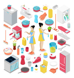 Isometric housework objects with housewife vector