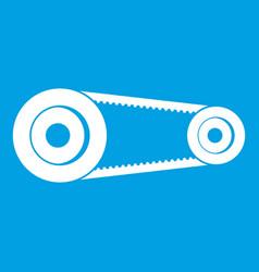 Mechanic belt icon white vector