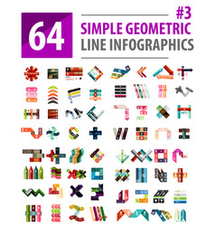mega collection line infographic design vector image