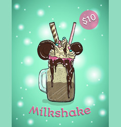 Monstershake in cartoon style crazy milkshake vector