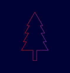 New year tree sign line icon with vector