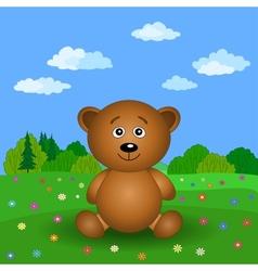 Teddy bear on a summer flower meadow vector image