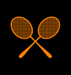 Tennis racquets sign orange icon on black vector