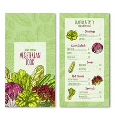 vegetairan cafe menu sketch salad vector image vector image