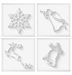 White Long Shadows Christmas Icons vector image vector image