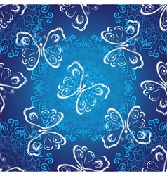Seamless dark blue christmas luxurious pattern vector
