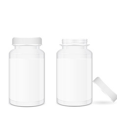 Opened and closed medical pill boxes vector image