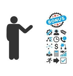 Talking man flat icon with bonus vector