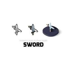Sword icon in different style vector