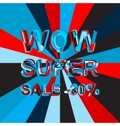Big ice sale poster with wow super sale minus 30 vector