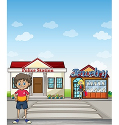 Kid police station and jewelry store vector image