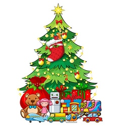 Many toys under Christmas tree vector image