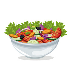 Bowl salad vegetables harvest vector