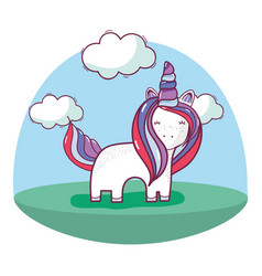 Beautiful unicorn with long mane and nice land vector
