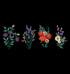 Set of embroidery bouquet on black background vector