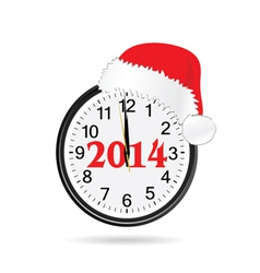 Clock with christmas hat color vector