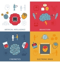 Artificial intelligence flat set vector
