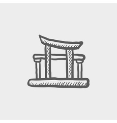 Famous gate sketch icon vector