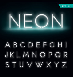 Neon alphabet Glowing font part 1 vector image