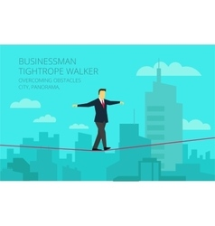 Businessman walking tightrope against the vector