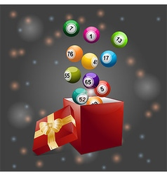 Bingo balls out of festive gift box vector