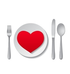 Plate with heart vector
